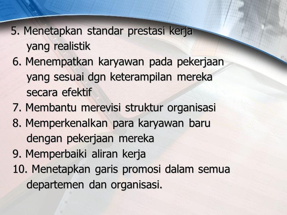 5. Menetapkan standar prestasi kerja yang realistik 6