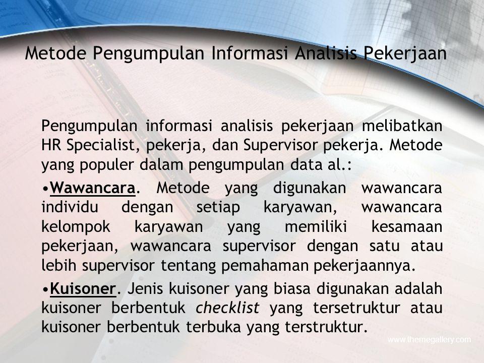 Metode Pengumpulan Informasi Analisis Pekerjaan