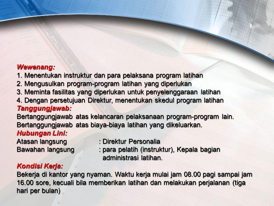 Wewenang: 1. Menentukan instruktur dan para pelaksana program latihan 2.