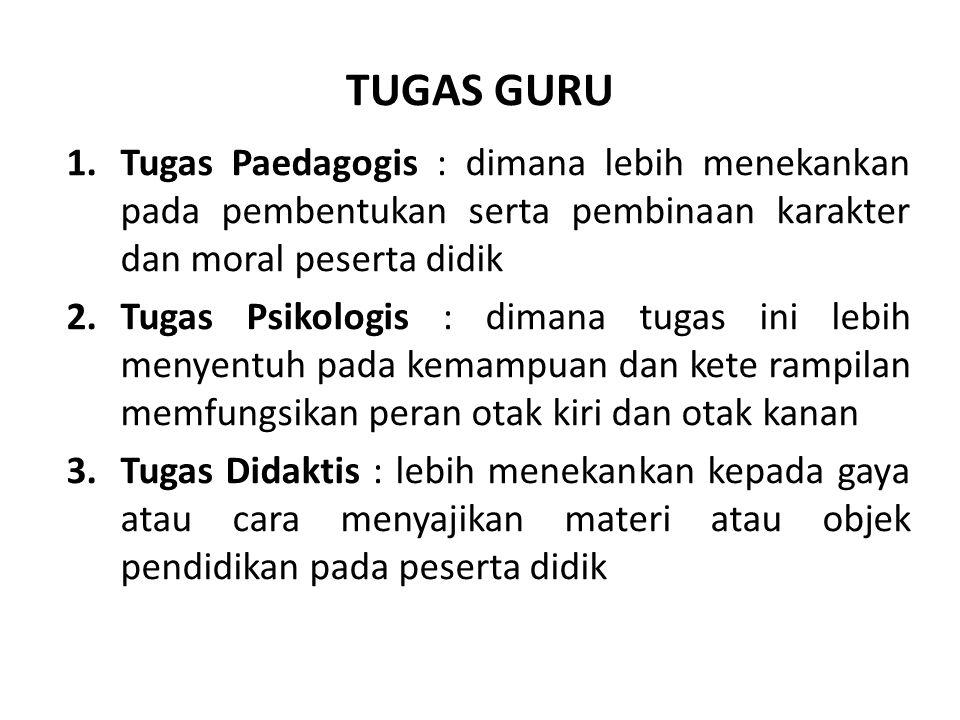 TUGAS GURU Tugas Paedagogis : dimana lebih menekankan pada pembentukan serta pembinaan karakter dan moral peserta didik.