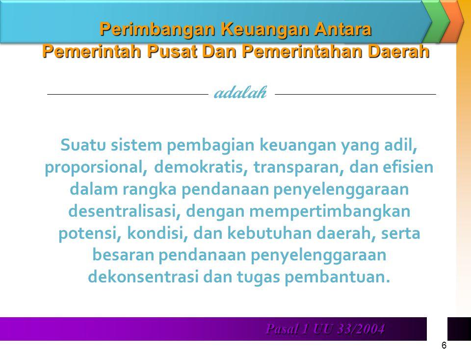 Perimbangan Keuangan Antara Pemerintah Pusat Dan Pemerintahan Daerah