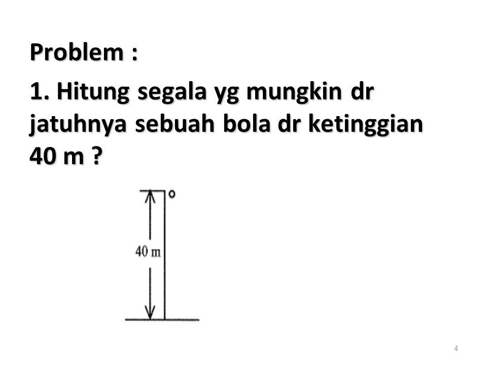 Problem : 1. Hitung segala yg mungkin dr jatuhnya sebuah bola dr ketinggian 40 m