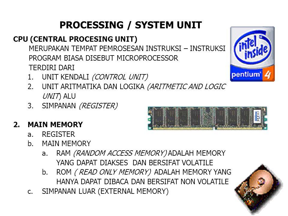 PROCESSING / SYSTEM UNIT