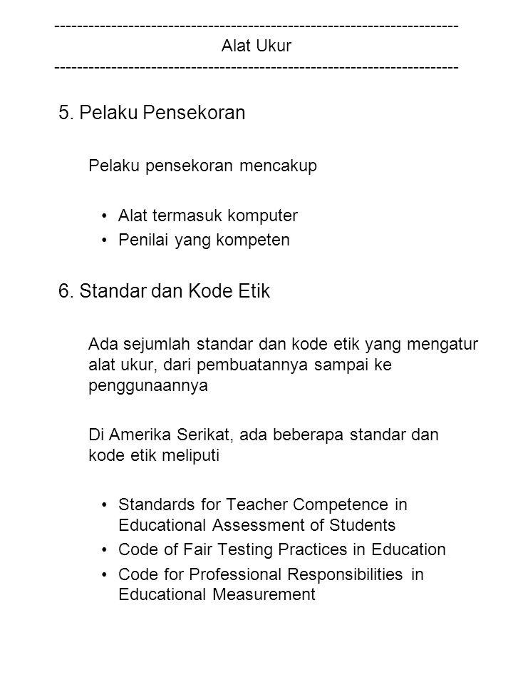 5. Pelaku Pensekoran 6. Standar dan Kode Etik