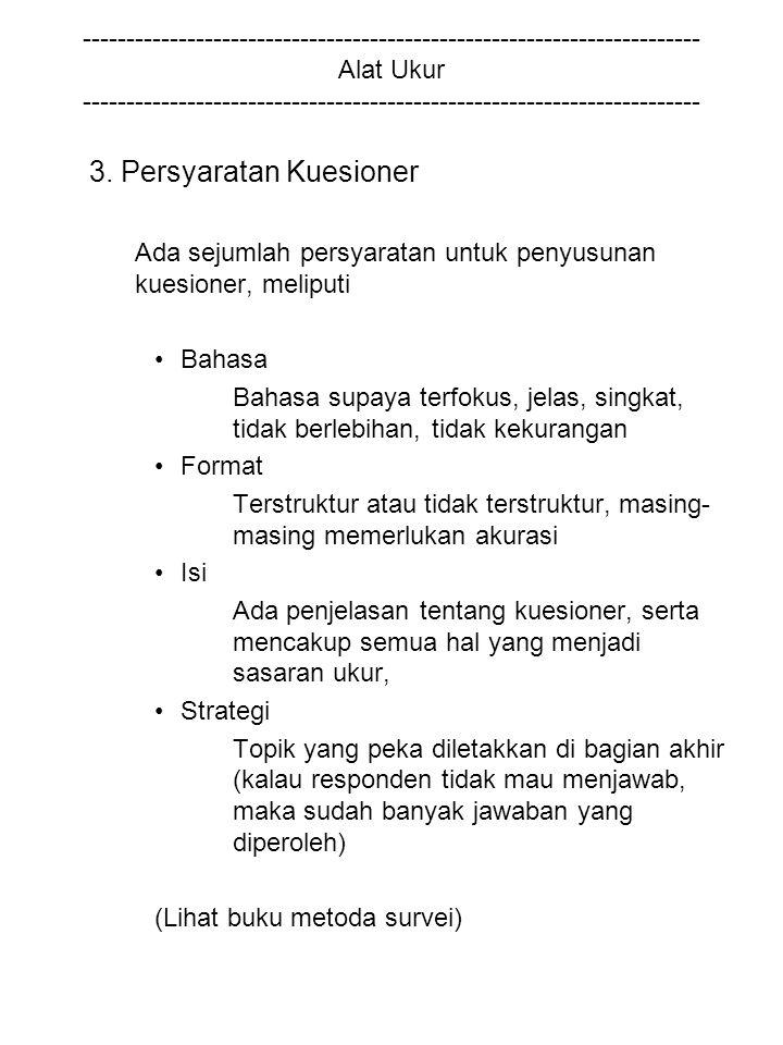 3. Persyaratan Kuesioner