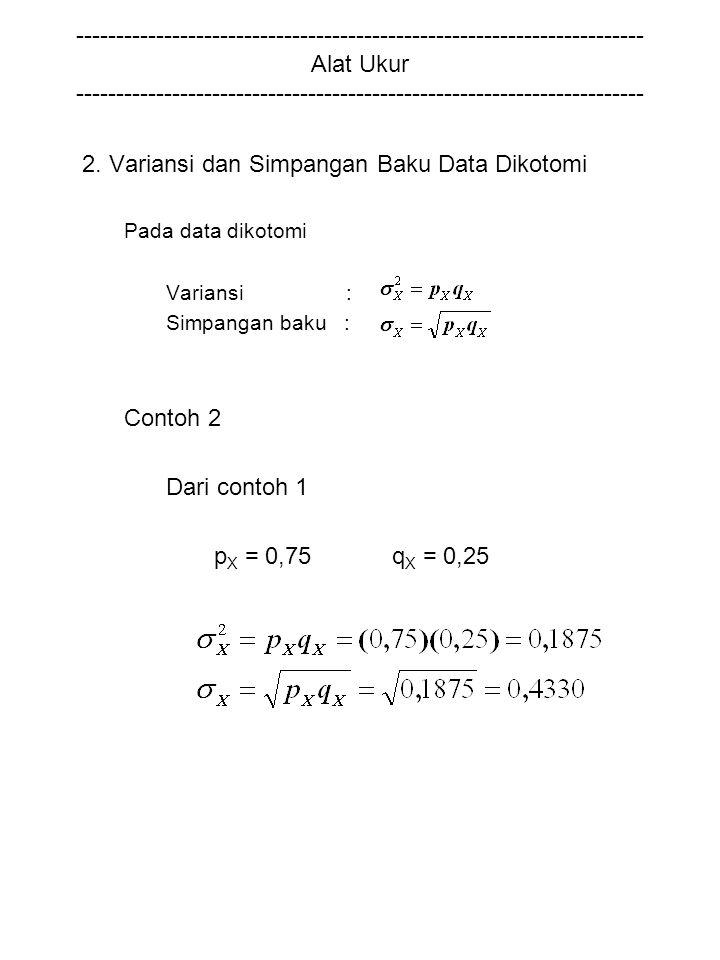 2. Variansi dan Simpangan Baku Data Dikotomi