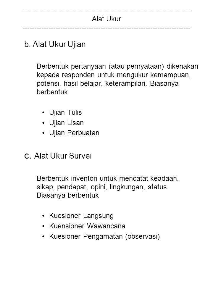 c. Alat Ukur Survei b. Alat Ukur Ujian