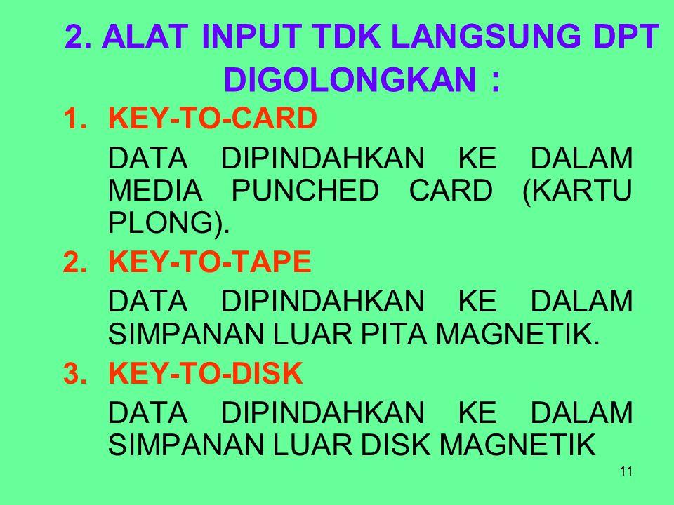 2. ALAT INPUT TDK LANGSUNG DPT DIGOLONGKAN :