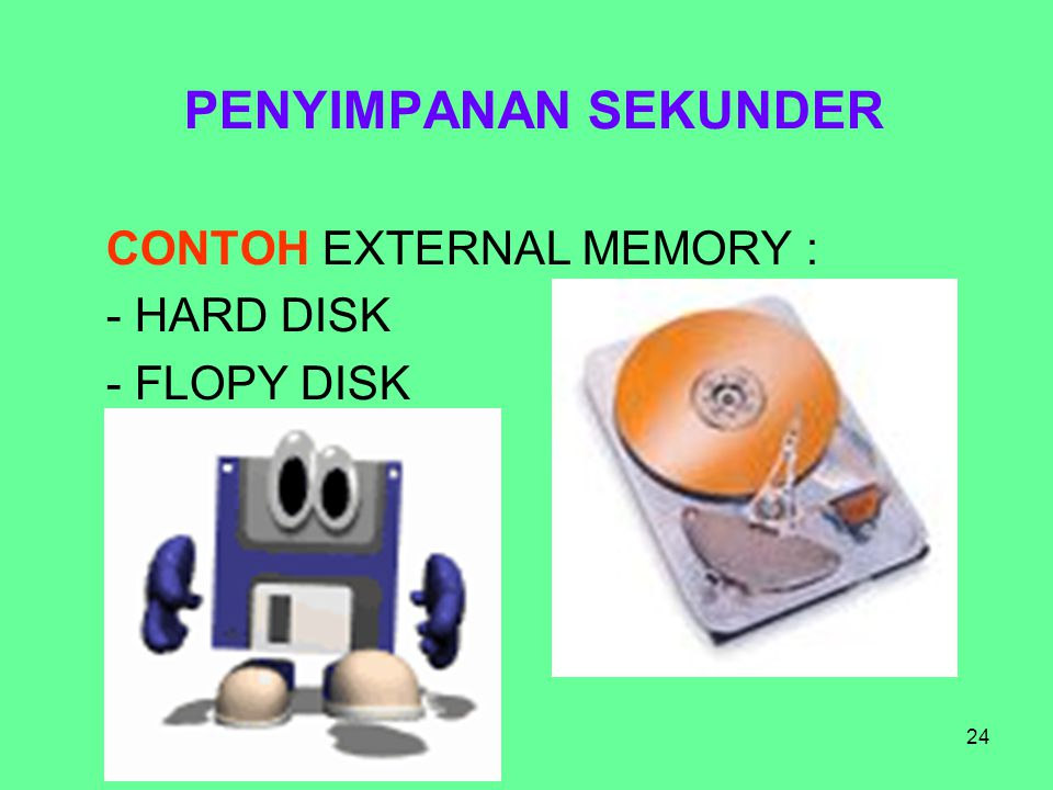 PENYIMPANAN SEKUNDER CONTOH EXTERNAL MEMORY : HARD DISK FLOPY DISK