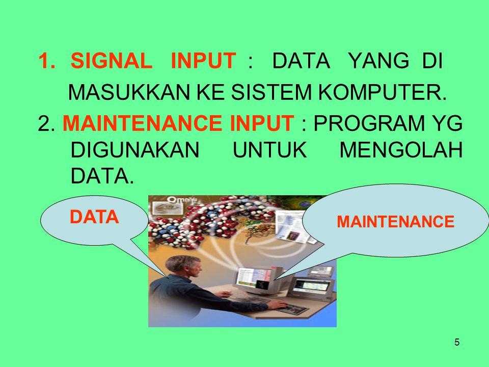SIGNAL INPUT : DATA YANG DI MASUKKAN KE SISTEM KOMPUTER.