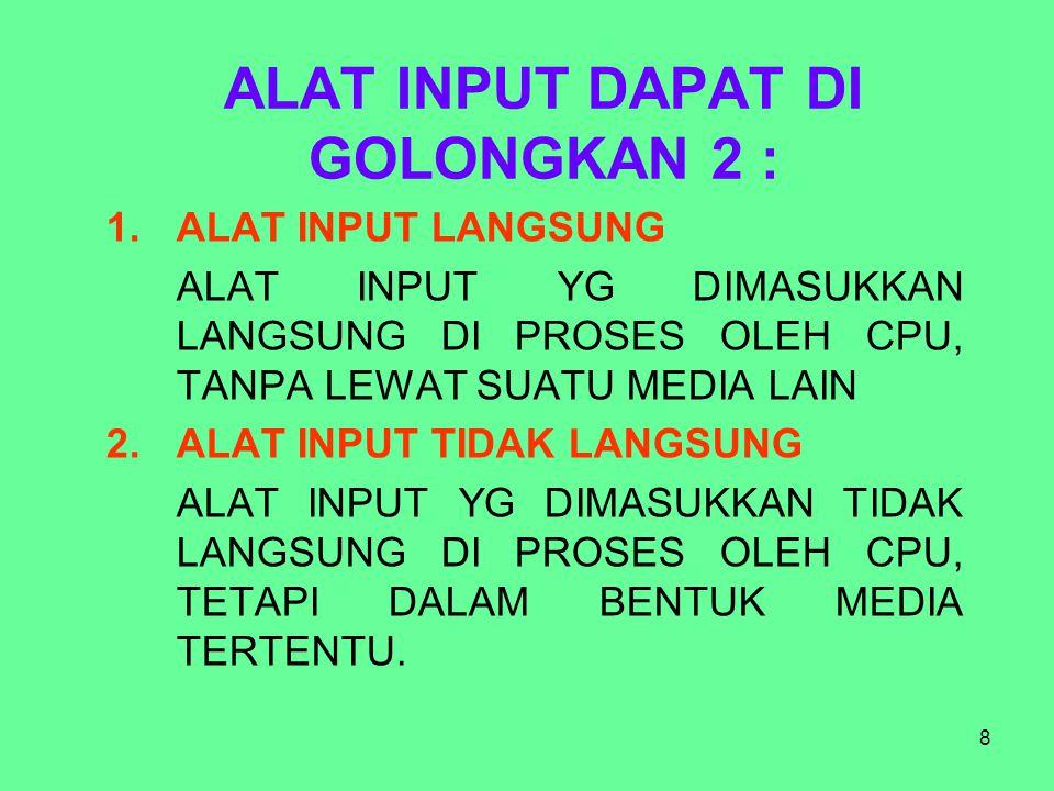 ALAT INPUT DAPAT DI GOLONGKAN 2 :