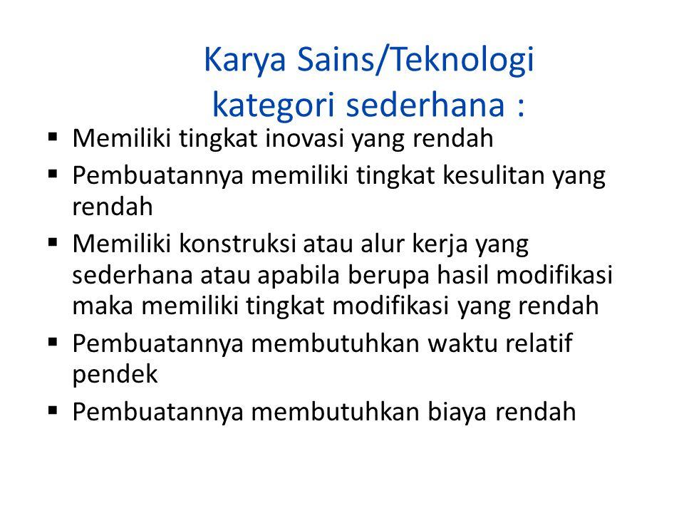 Karya Sains/Teknologi kategori sederhana :