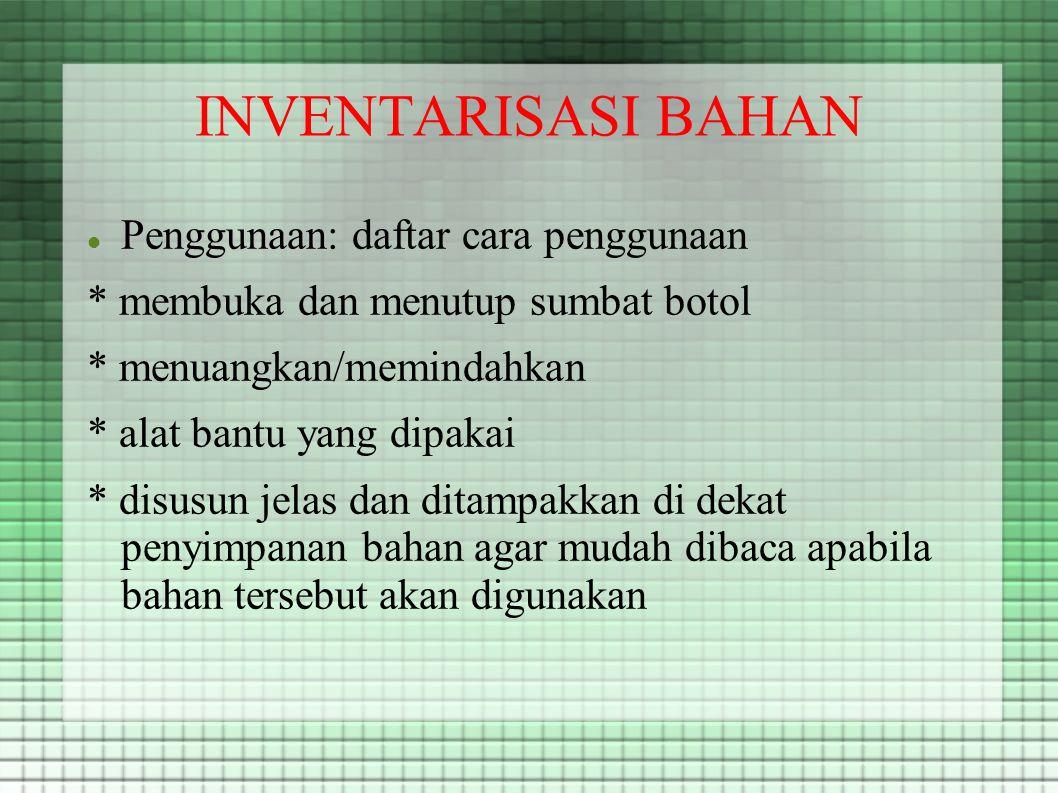 INVENTARISASI BAHAN Penggunaan: daftar cara penggunaan
