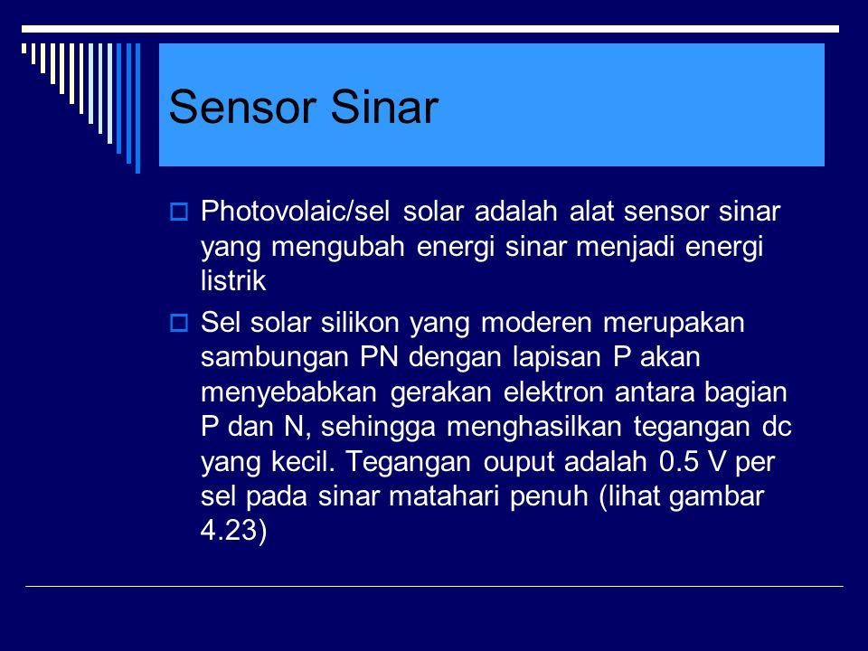 Sensor Sinar Photovolaic/sel solar adalah alat sensor sinar yang mengubah energi sinar menjadi energi listrik.