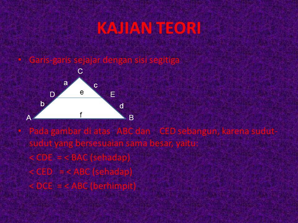KAJIAN TEORI Garis-garis sejajar dengan sisi segitiga