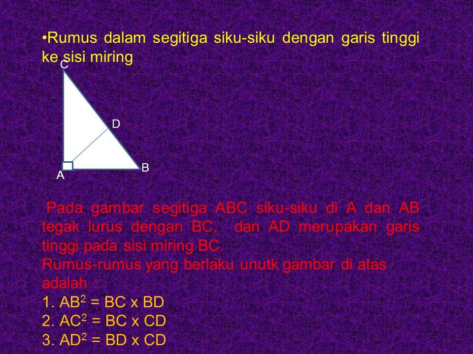 Rumus dalam segitiga siku-siku dengan garis tinggi ke sisi miring