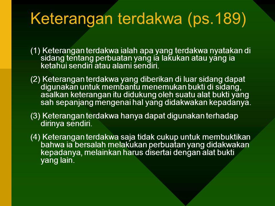 Keterangan terdakwa (ps.189)