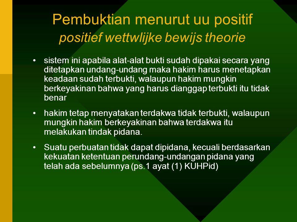 Pembuktian menurut uu positif positief wettwlijke bewijs theorie