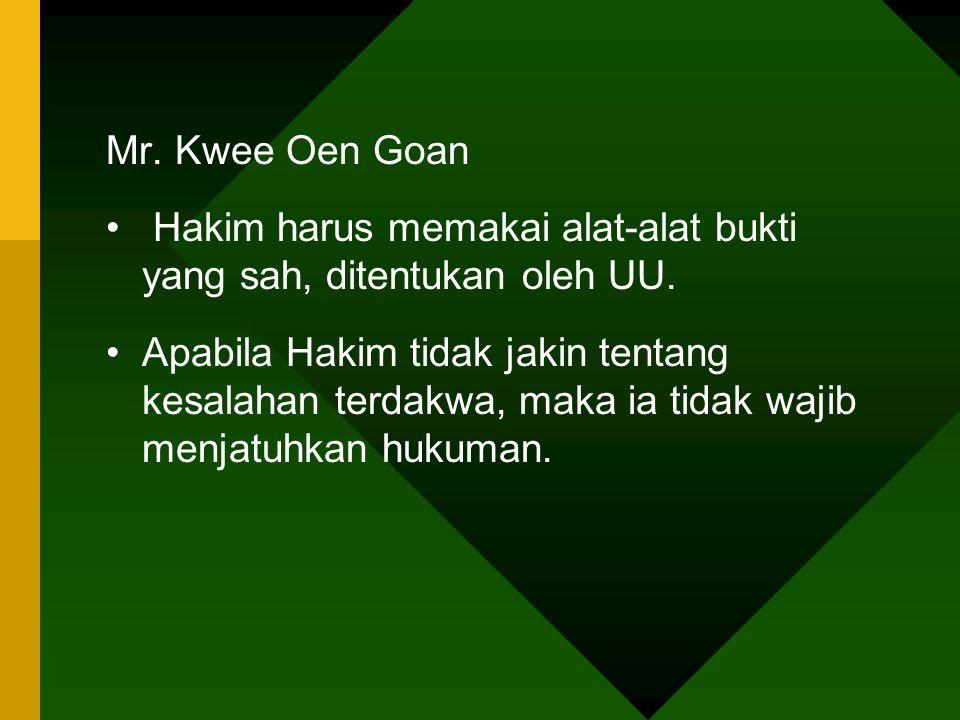 Mr. Kwee Oen Goan Hakim harus memakai alat-alat bukti yang sah, ditentukan oleh UU.