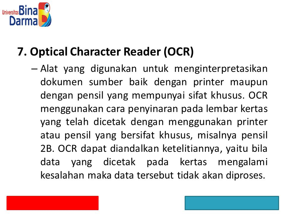 7. Optical Character Reader (OCR)