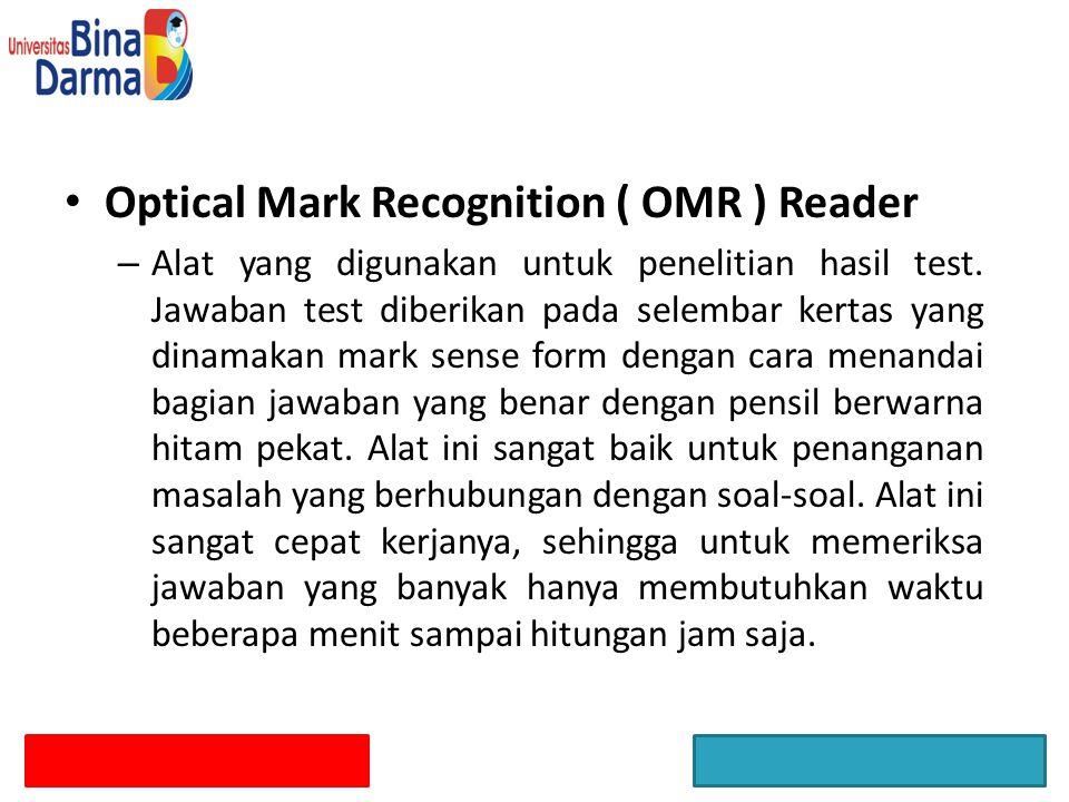 Optical Mark Recognition ( OMR ) Reader