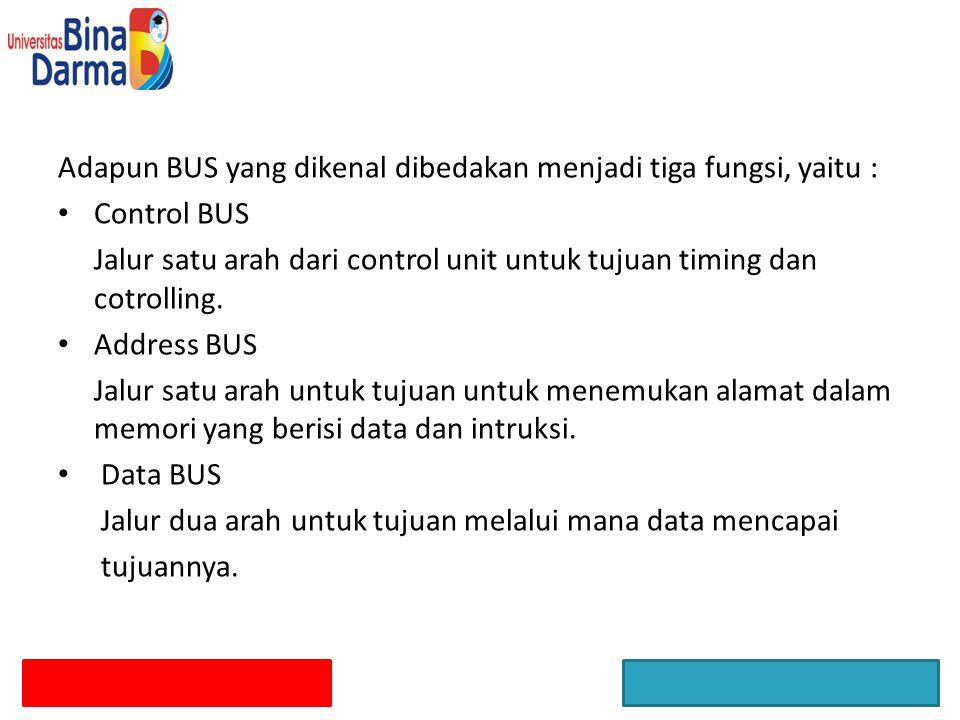 Adapun BUS yang dikenal dibedakan menjadi tiga fungsi, yaitu :