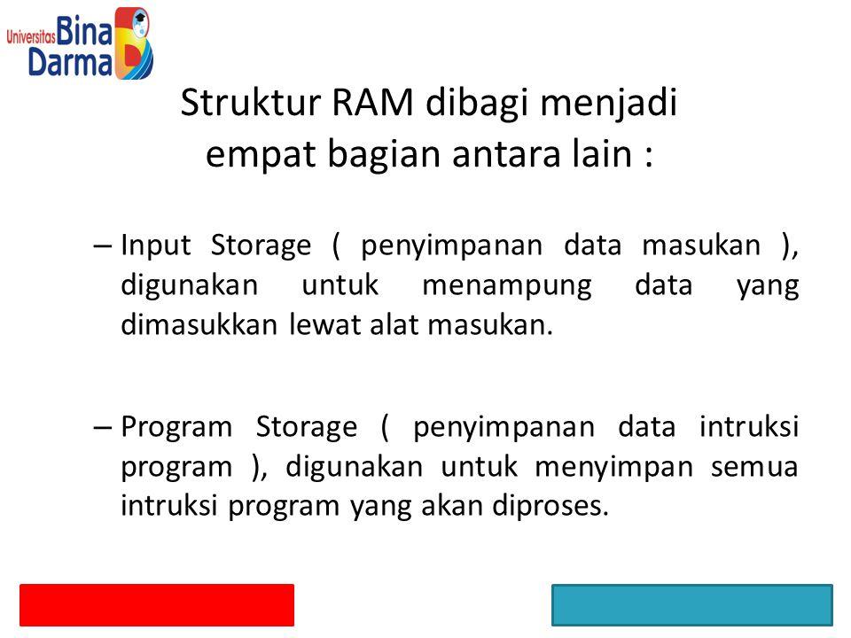 Struktur RAM dibagi menjadi empat bagian antara lain :