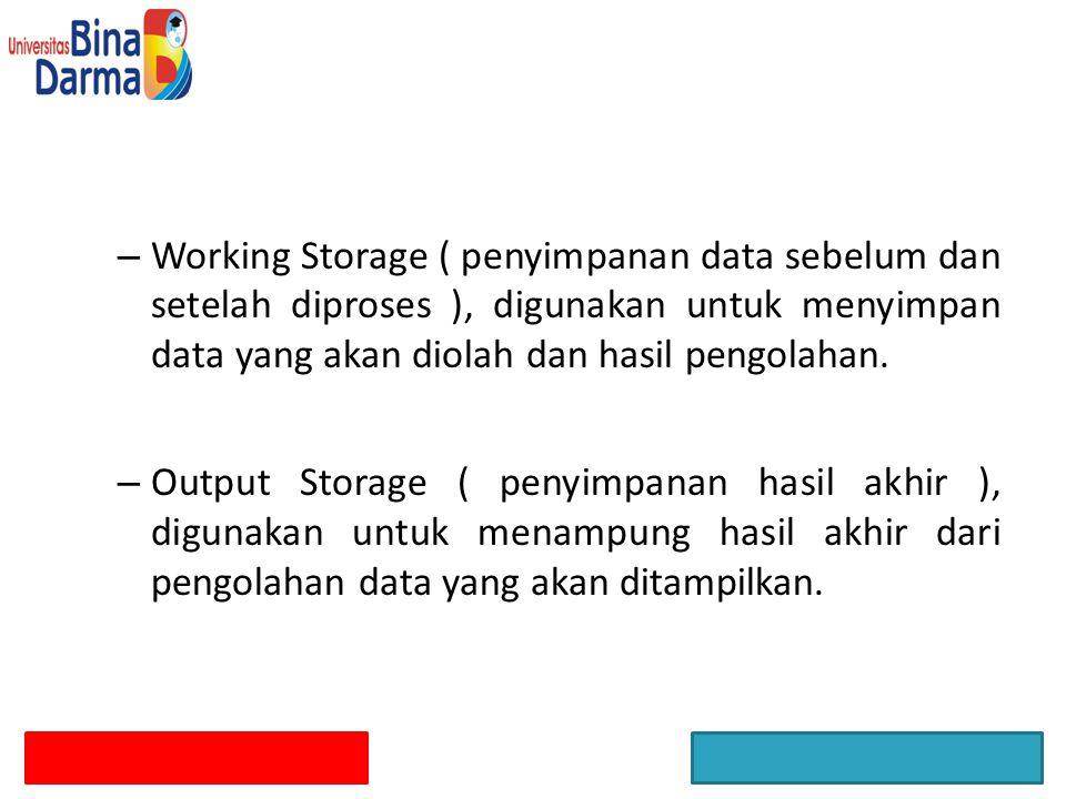 Working Storage ( penyimpanan data sebelum dan setelah diproses ), digunakan untuk menyimpan data yang akan diolah dan hasil pengolahan.