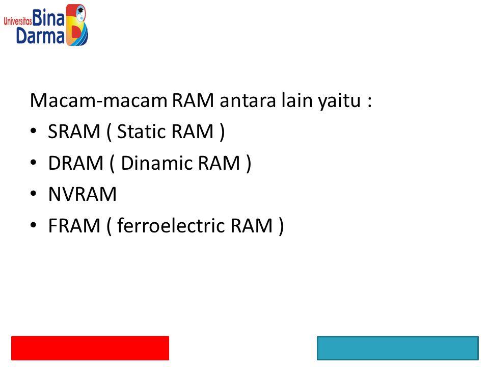 Macam-macam RAM antara lain yaitu :