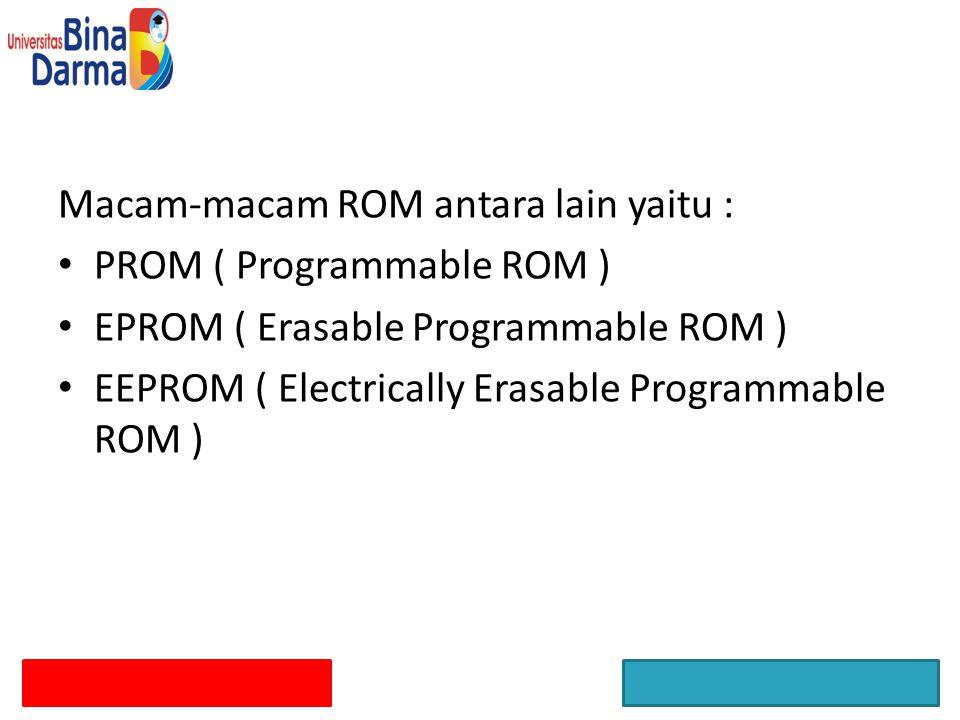 Macam-macam ROM antara lain yaitu :