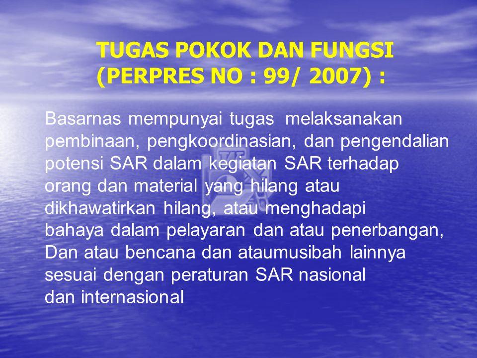 TUGAS POKOK DAN FUNGSI (PERPRES NO : 99/ 2007) :