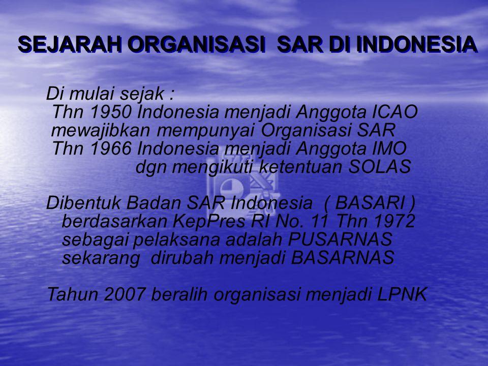 SEJARAH ORGANISASI SAR DI INDONESIA