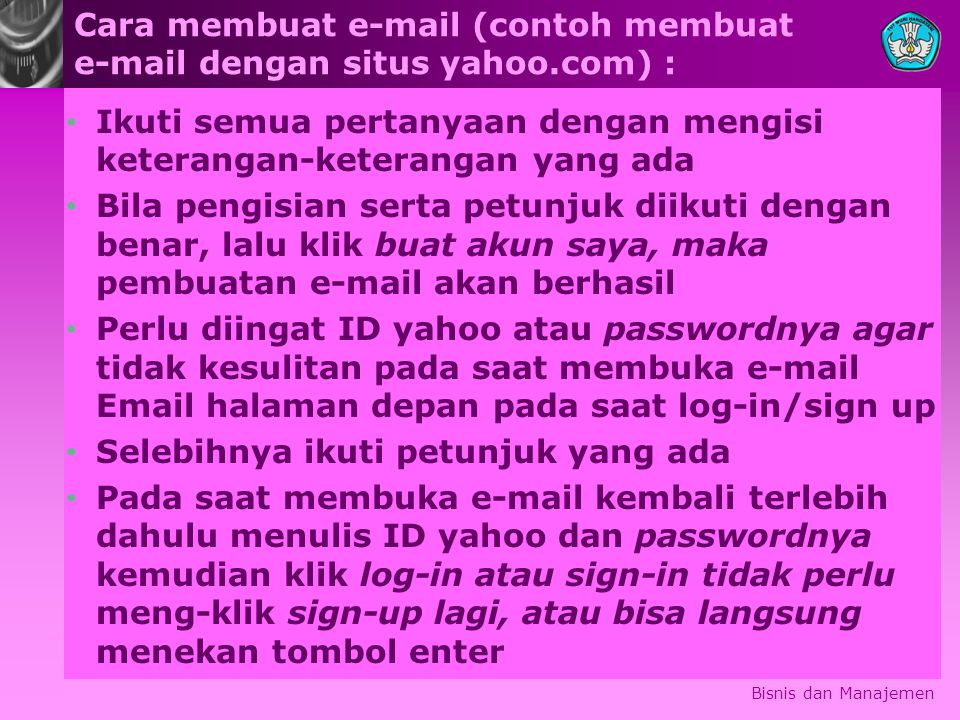 Cara membuat e-mail (contoh membuat e-mail dengan situs yahoo.com) :