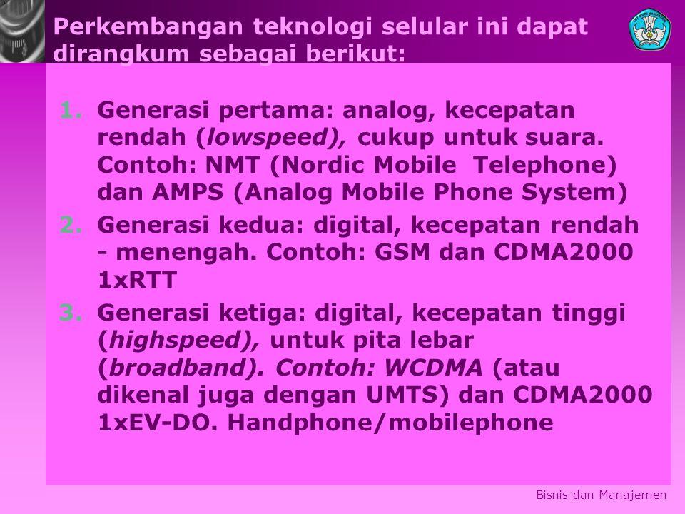 Perkembangan teknologi selular ini dapat dirangkum sebagai berikut: