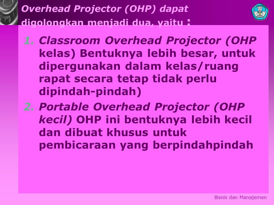 Overhead Projector (OHP) dapat digolongkan menjadi dua, yaitu :
