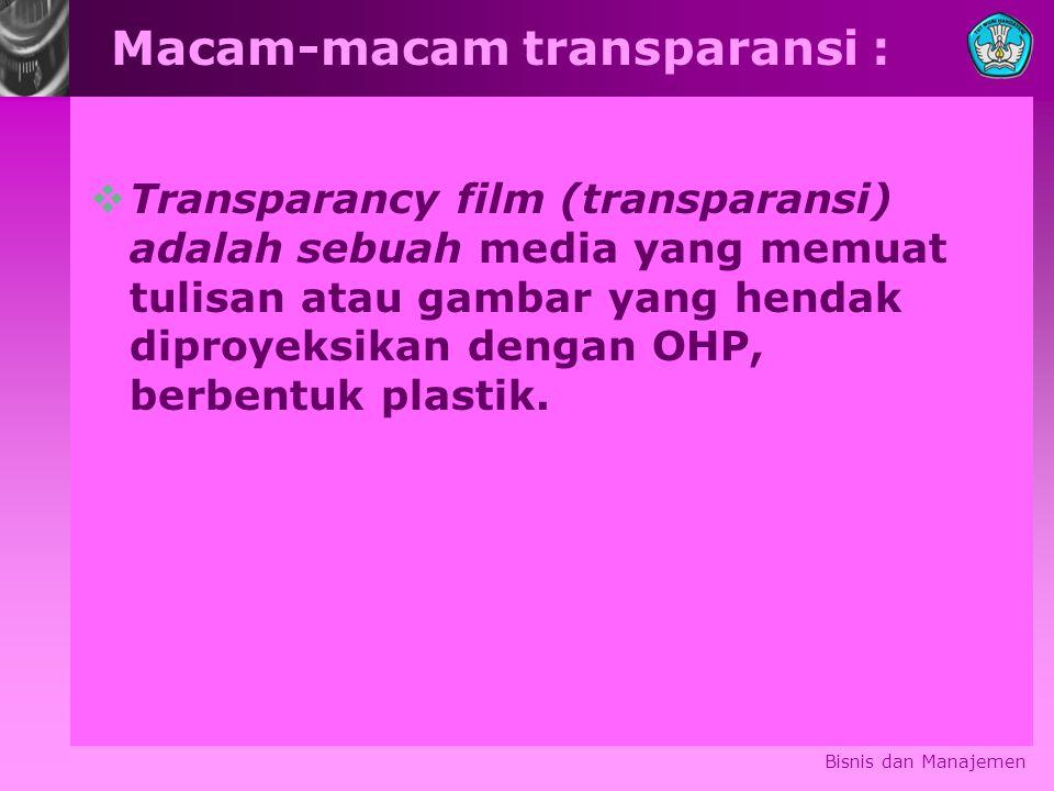 Macam-macam transparansi :