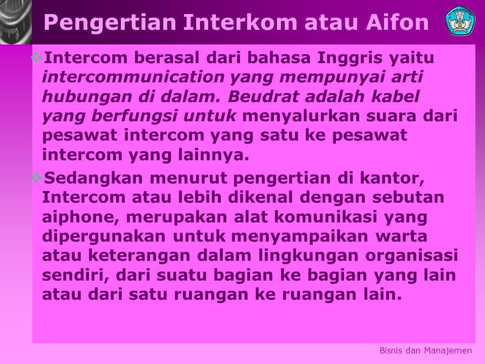 Pengertian Interkom atau Aifon