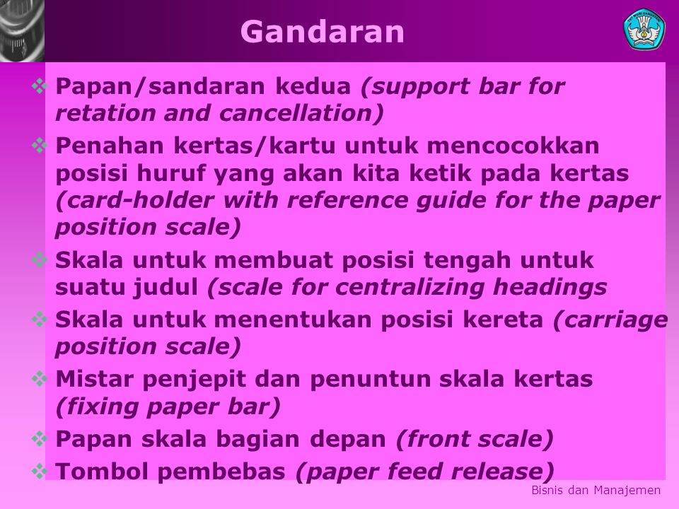 Gandaran Papan/sandaran kedua (support bar for retation and cancellation)