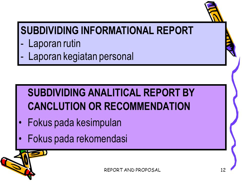 SUBDIVIDING ANALITICAL REPORT BY CANCLUTION OR RECOMMENDATION