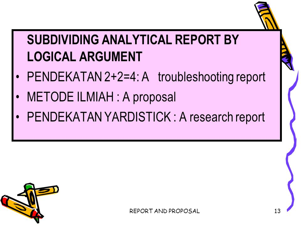 SUBDIVIDING ANALYTICAL REPORT BY LOGICAL ARGUMENT