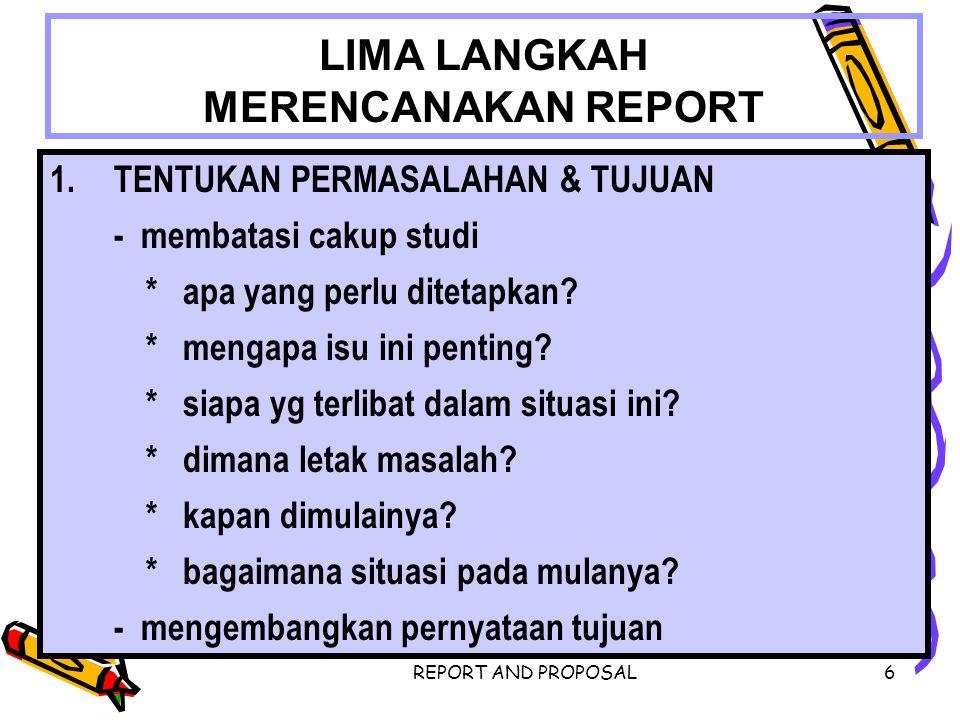 LIMA LANGKAH MERENCANAKAN REPORT