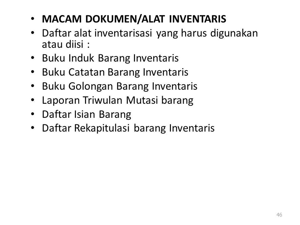 MACAM DOKUMEN/ALAT INVENTARIS