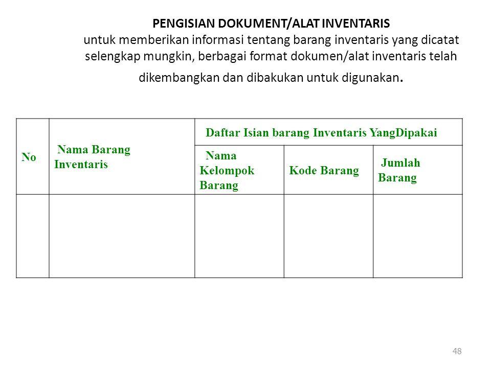 PENGISIAN DOKUMENT/ALAT INVENTARIS untuk memberikan informasi tentang barang inventaris yang dicatat selengkap mungkin, berbagai format dokumen/alat inventaris telah dikembangkan dan dibakukan untuk digunakan.