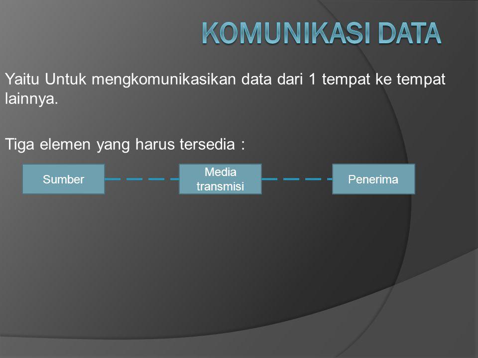 Komunikasi Data Yaitu Untuk mengkomunikasikan data dari 1 tempat ke tempat lainnya. Tiga elemen yang harus tersedia :