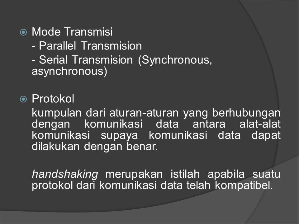 Mode Transmisi - Parallel Transmision. - Serial Transmision (Synchronous, asynchronous) Protokol.