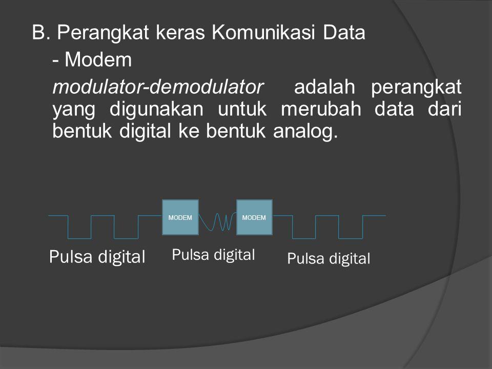 B. Perangkat keras Komunikasi Data - Modem modulator-demodulator adalah perangkat yang digunakan untuk merubah data dari bentuk digital ke bentuk analog.