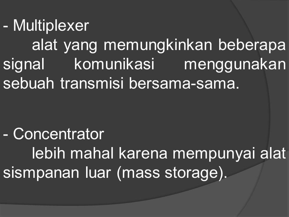 - Multiplexer alat yang memungkinkan beberapa signal komunikasi menggunakan sebuah transmisi bersama-sama.