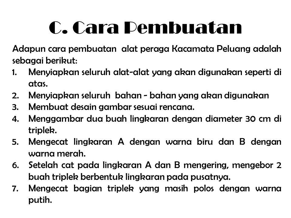 C. Cara Pembuatan Adapun cara pembuatan alat peraga Kacamata Peluang adalah sebagai berikut: