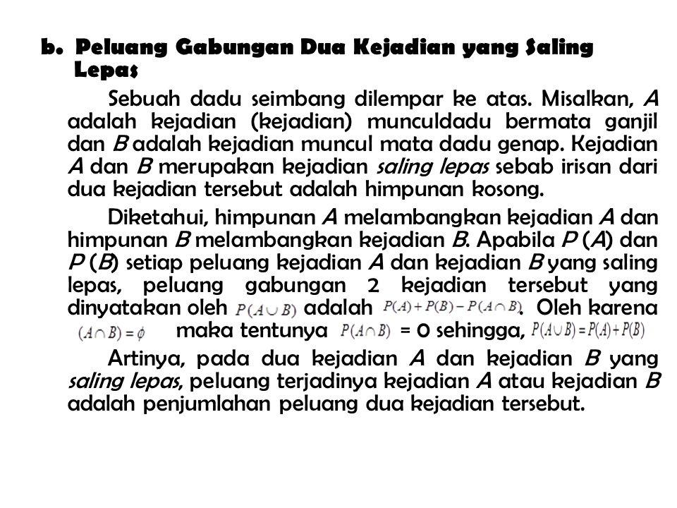 b. Peluang Gabungan Dua Kejadian yang Saling Lepas Sebuah dadu seimbang dilempar ke atas.