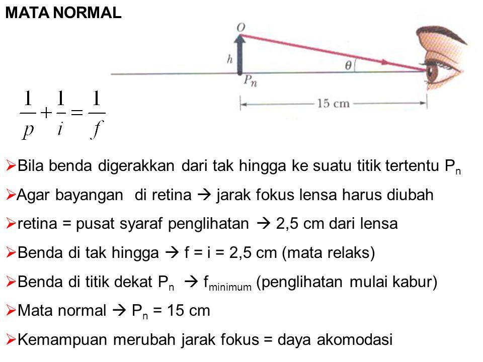 MATA NORMAL Bila benda digerakkan dari tak hingga ke suatu titik tertentu Pn. Agar bayangan di retina  jarak fokus lensa harus diubah.